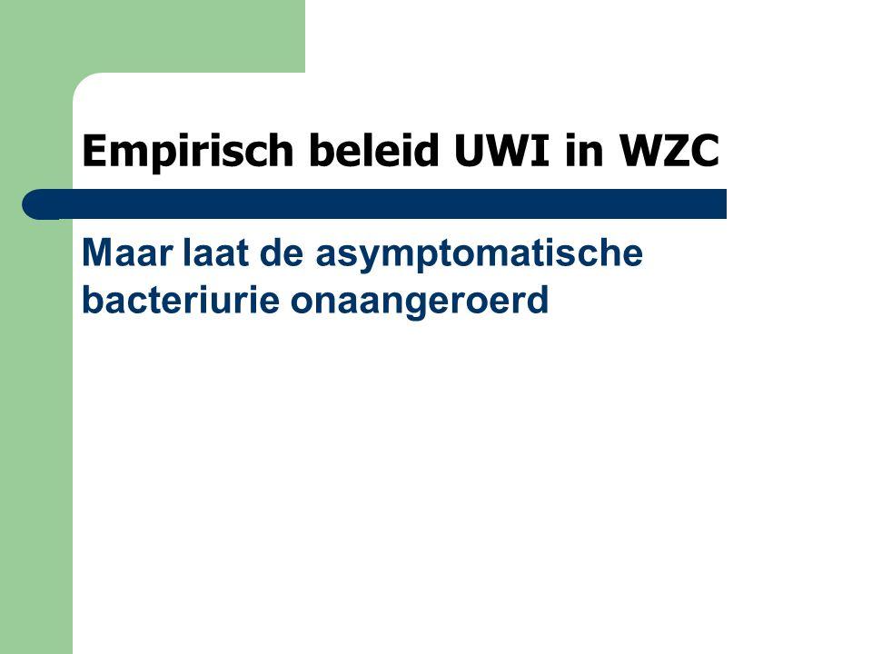 Empirisch beleid UWI in WZC Maar laat de asymptomatische bacteriurie onaangeroerd