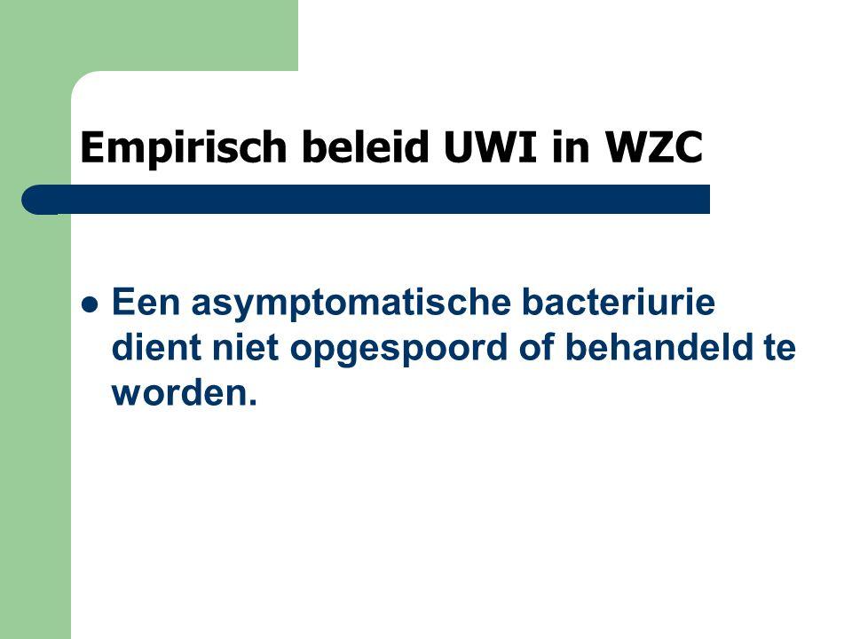 Empirisch beleid UWI in WZC Een asymptomatische bacteriurie dient niet opgespoord of behandeld te worden.