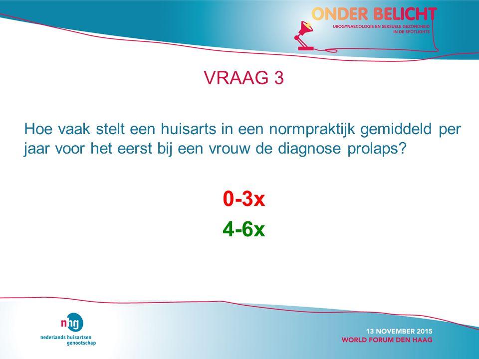 VRAAG 3 Hoe vaak stelt een huisarts in een normpraktijk gemiddeld per jaar voor het eerst bij een vrouw de diagnose prolaps.