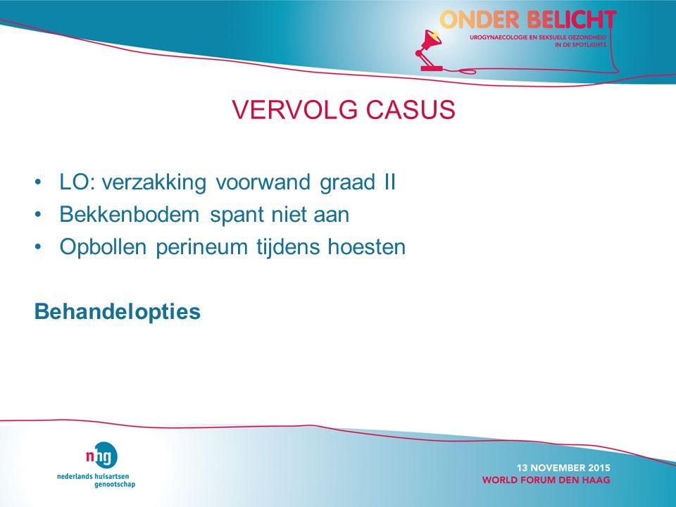 VERVOLG CASUS LO: verzakking voorwand graad II Bekkenbodem spant niet aan Opbollen perineum tijdens hoesten Behandelopties