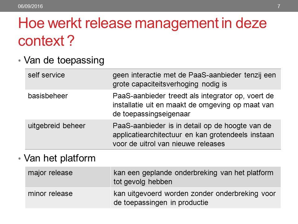 Hoe werkt release management in deze context .