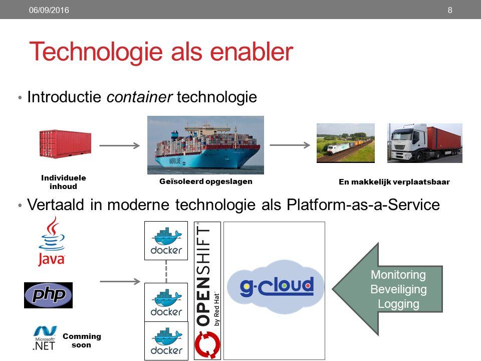 Besluit Platform-as-a-Service oplossingen werken in de praktijk (zie cases) De voorgestelde technische implementatie (docker containers en OpenShift) bestaat en biedt een flexibele oplossing op maat In combinatie met (G-)cloud wordt schaalvoordeel gecombineerd met onafhankelijkheid 06/09/201619