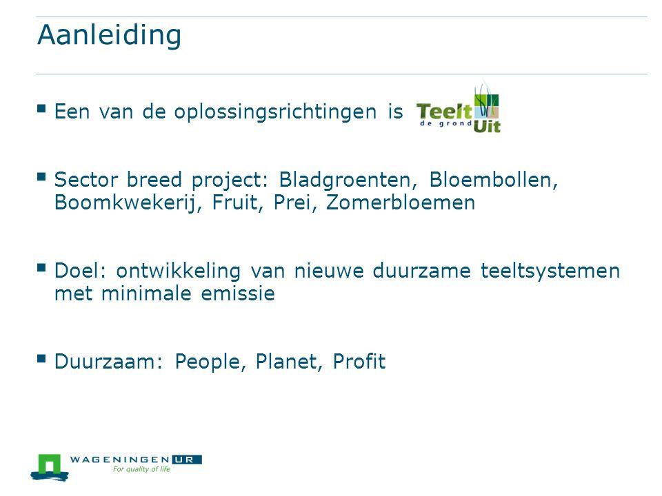 Aanleiding  Een van de oplossingsrichtingen is  Sector breed project: Bladgroenten, Bloembollen, Boomkwekerij, Fruit, Prei, Zomerbloemen  Doel: ontwikkeling van nieuwe duurzame teeltsystemen met minimale emissie  Duurzaam: People, Planet, Profit