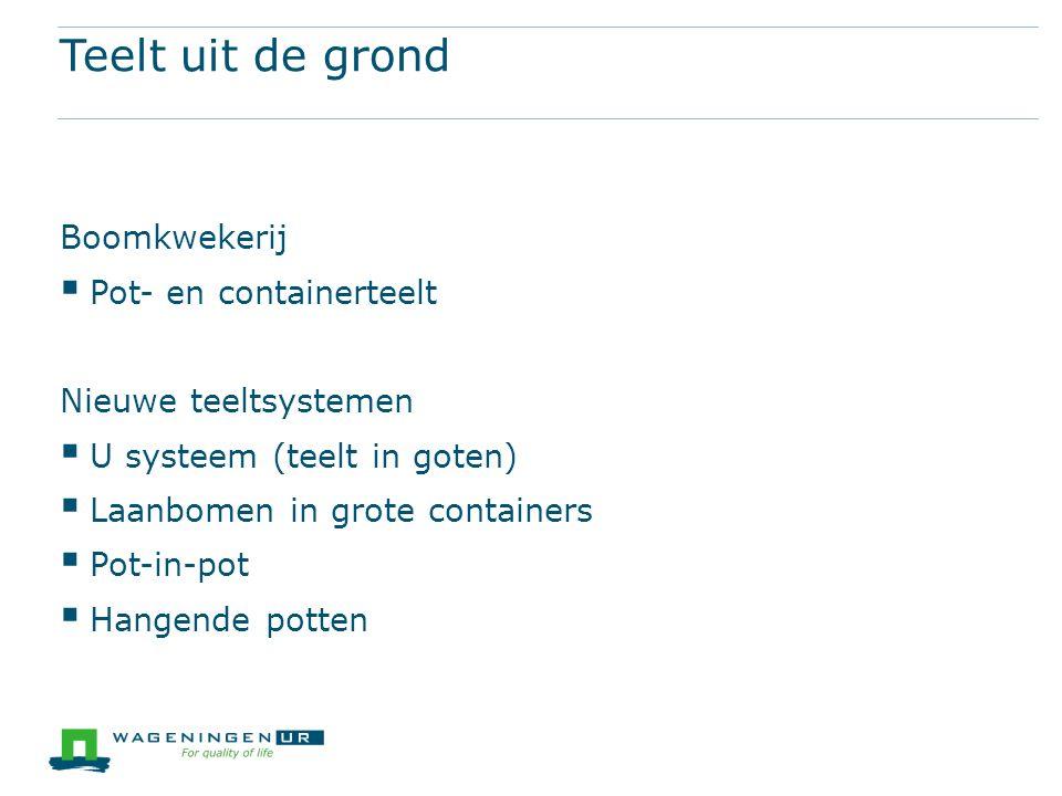 Teelt uit de grond Boomkwekerij  Pot- en containerteelt Nieuwe teeltsystemen  U systeem (teelt in goten)  Laanbomen in grote containers  Pot-in-pot  Hangende potten