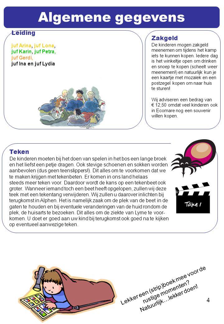 4 Algemene gegevens Leiding juf Arina, juf Lona, juf Karin, juf Petra, juf Gerdi, juf Ina en juf Lydia Teken De kinderen moeten bij het doen van spelen in het bos een lange broek en het liefst een petje dragen.
