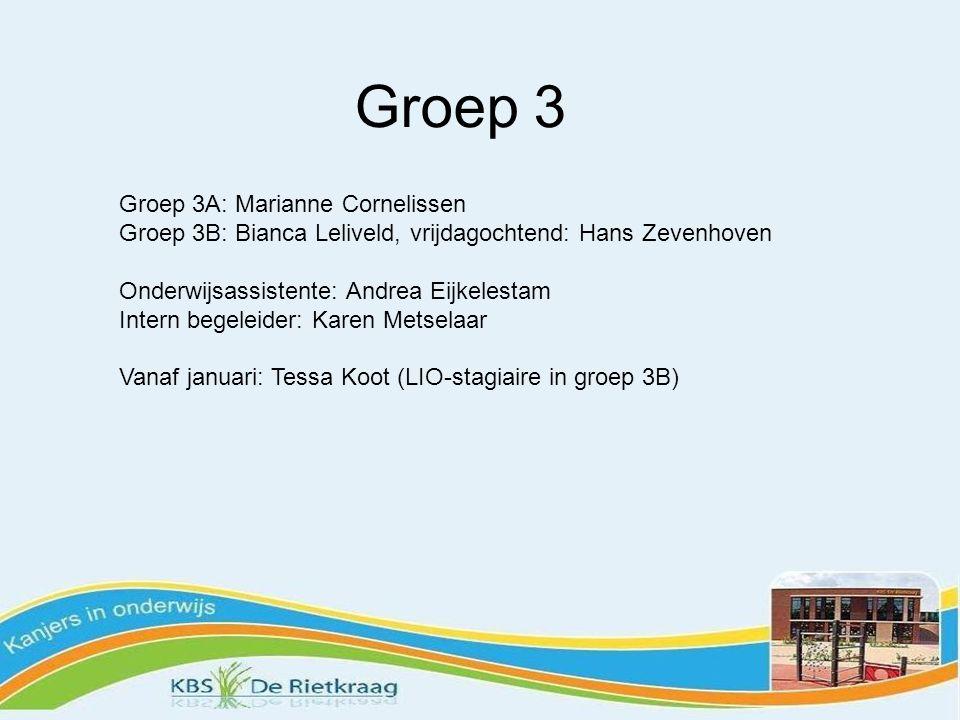 Groep 3 Groep 3A: Marianne Cornelissen Groep 3B: Bianca Leliveld, vrijdagochtend: Hans Zevenhoven Onderwijsassistente: Andrea Eijkelestam Intern begeleider: Karen Metselaar Vanaf januari: Tessa Koot (LIO-stagiaire in groep 3B)