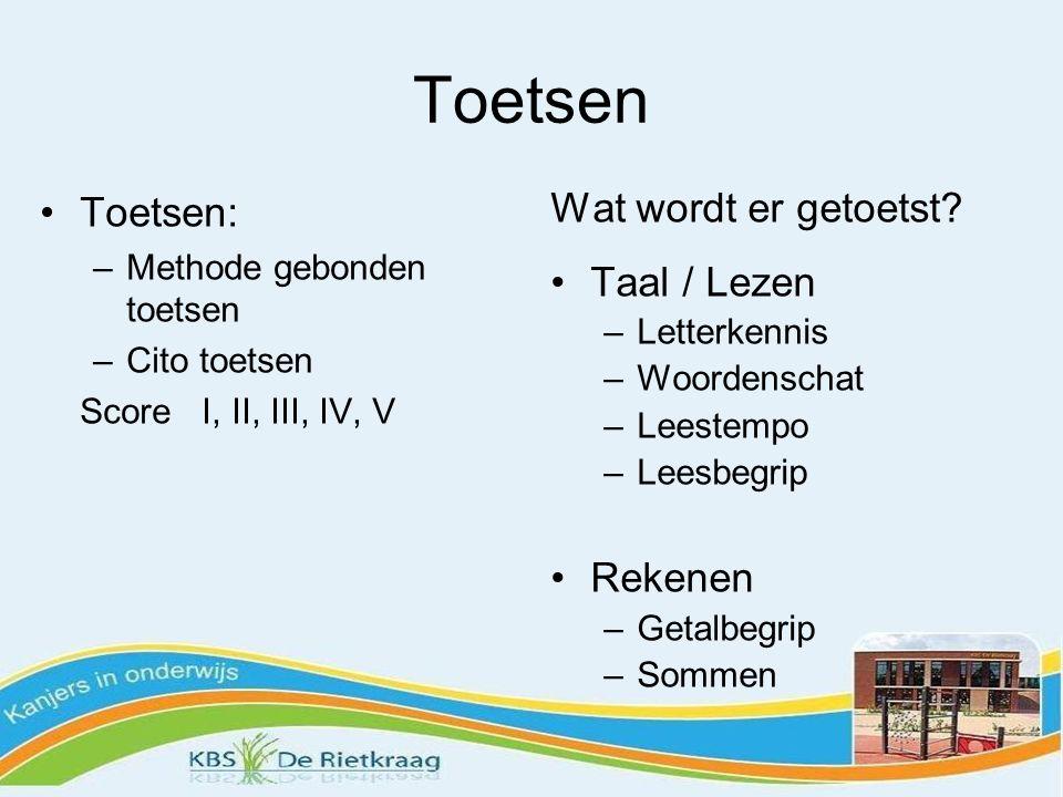 Toetsen Toetsen: –Methode gebonden toetsen –Cito toetsen Score I, II, III, IV, V Wat wordt er getoetst.