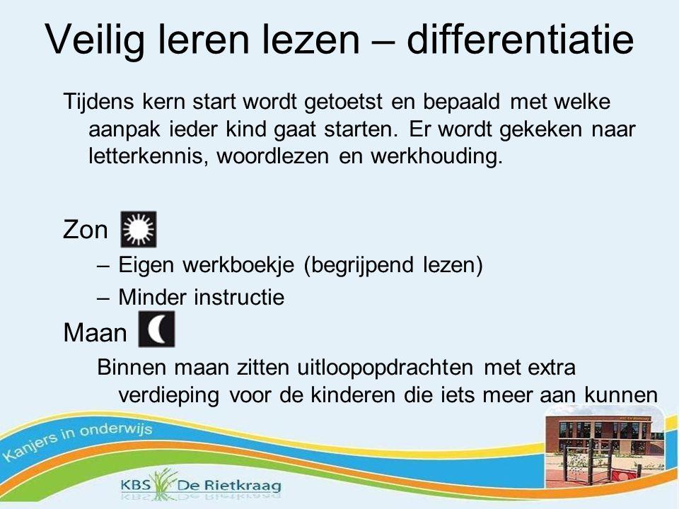 Veilig leren lezen – differentiatie Tijdens kern start wordt getoetst en bepaald met welke aanpak ieder kind gaat starten.