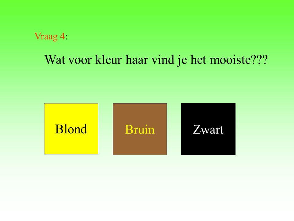 Wat voor kleur haar vind je het mooiste??? Blond BruinZwart Vraag 4: