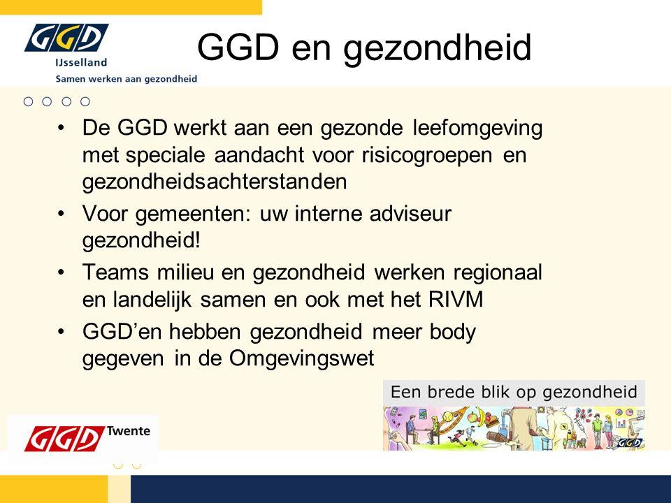 GGD en gezondheid De GGD werkt aan een gezonde leefomgeving met speciale aandacht voor risicogroepen en gezondheidsachterstanden Voor gemeenten: uw interne adviseur gezondheid.