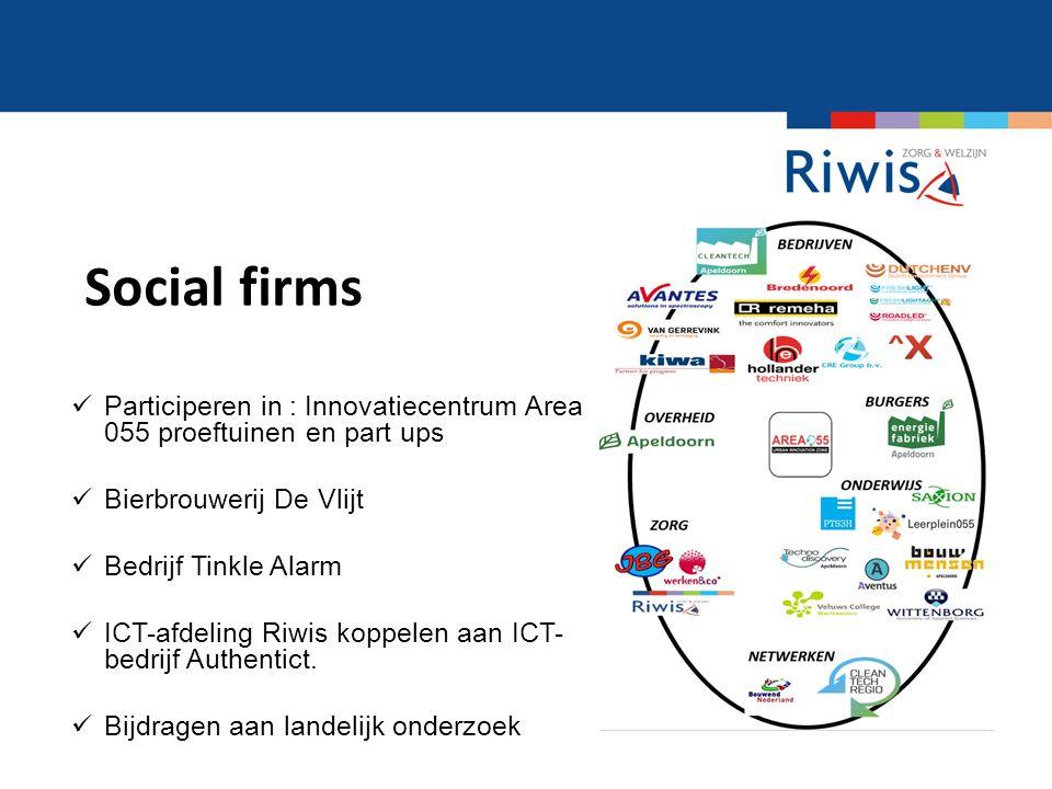 Social firms Participeren in : Innovatiecentrum Area 055 proeftuinen en part ups Bierbrouwerij De Vlijt Bedrijf Tinkle Alarm ICT-afdeling Riwis koppelen aan ICT- bedrijf Authentict.