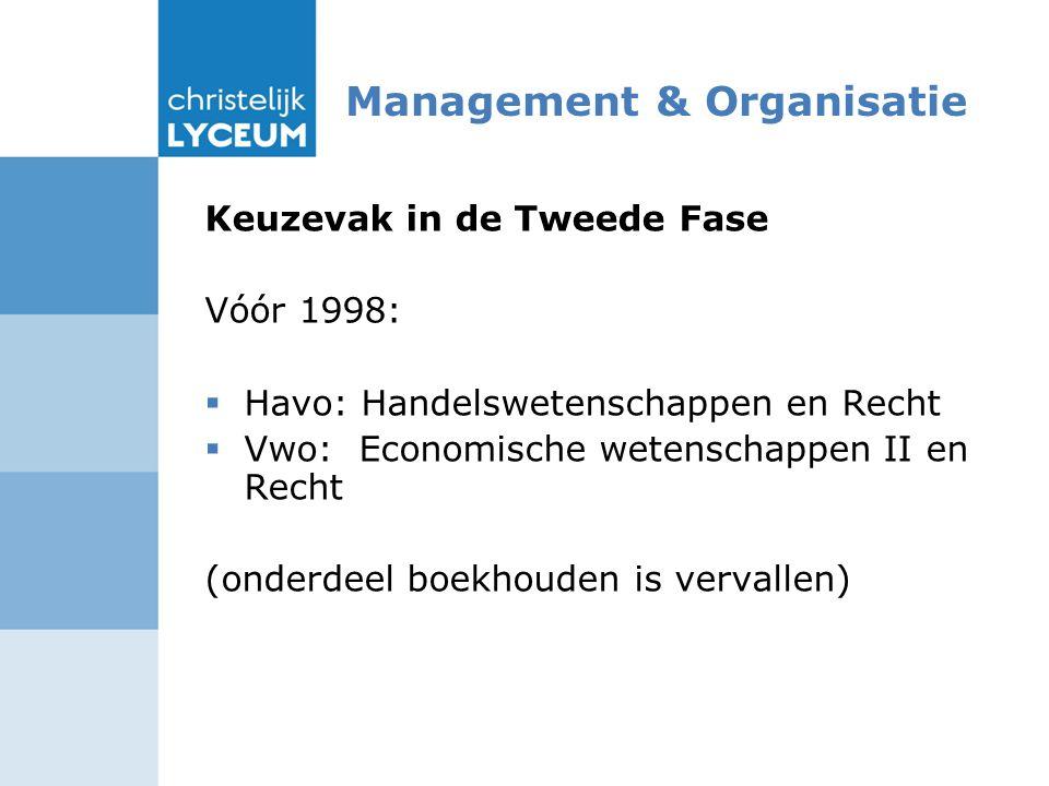 Management & Organisatie Keuzevak in de Tweede Fase Vóór 1998:  Havo: Handelswetenschappen en Recht  Vwo: Economische wetenschappen II en Recht (onderdeel boekhouden is vervallen)