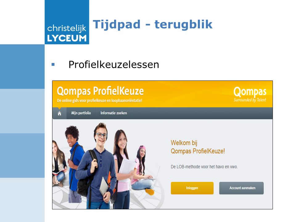 Tijdpad - terugblik  Profielkeuzelessen Is Qompas af