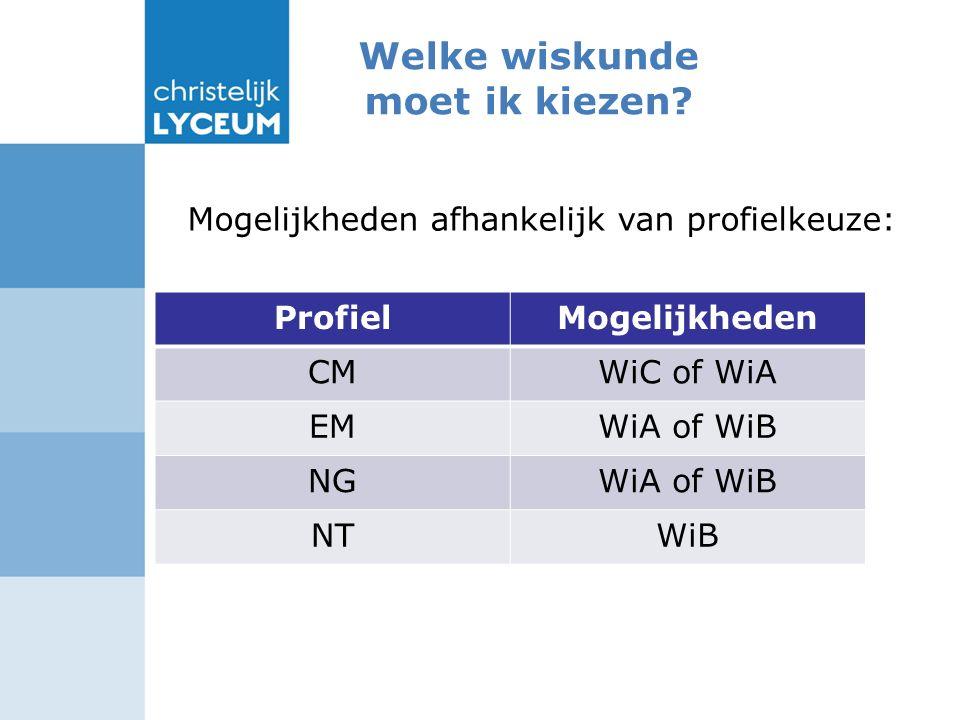 Mogelijkheden afhankelijk van profielkeuze: ProfielMogelijkheden CMWiC of WiA EMWiA of WiB NGWiA of WiB NTWiB Welke wiskunde moet ik kiezen