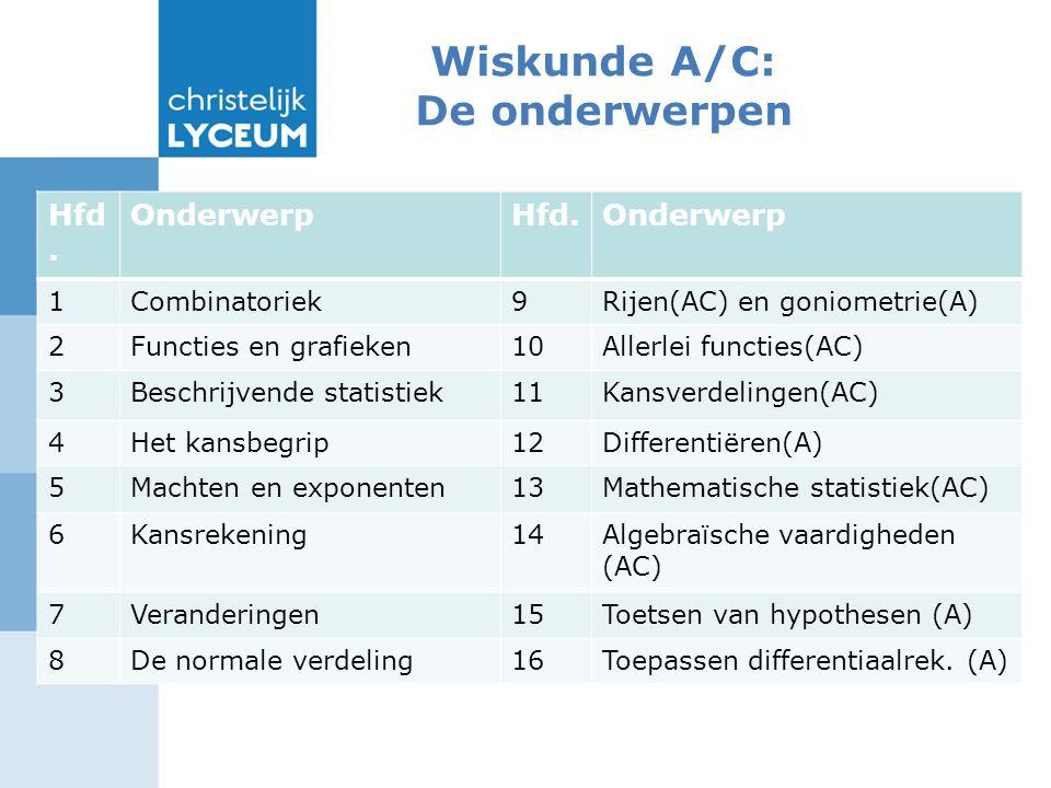 Wiskunde A/C: De onderwerpen Een illustratie van de verschillen: Hfd.