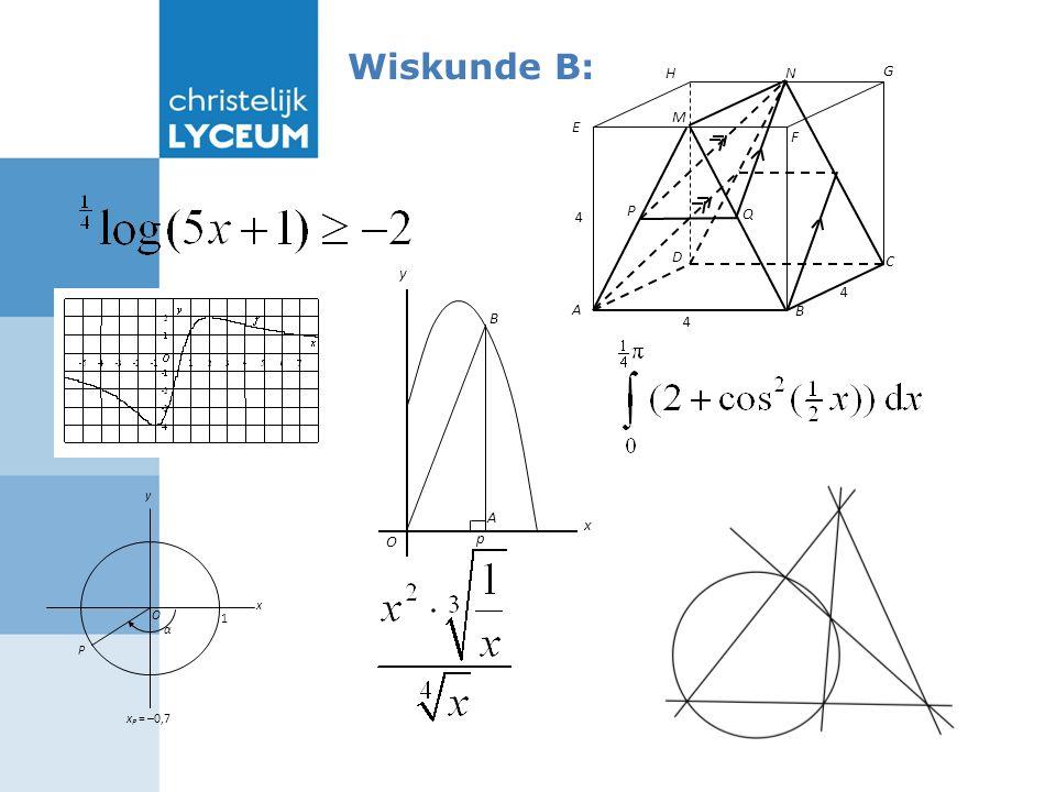 Wiskunde B: P y α 1 O x x P = –0,7 x O A y p B Q A B C D F E G 4 4 4 M P H N