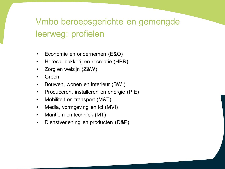Economie en ondernemen (E&O) Horeca, bakkerij en recreatie (HBR) Zorg en welzijn (Z&W) Groen Bouwen, wonen en interieur (BWI) Produceren, installeren en energie (PIE) Mobiliteit en transport (M&T) Media, vormgeving en ict (MVI) Maritiem en techniek (MT) Dienstverlening en producten (D&P) Vmbo beroepsgerichte en gemengde leerweg: profielen
