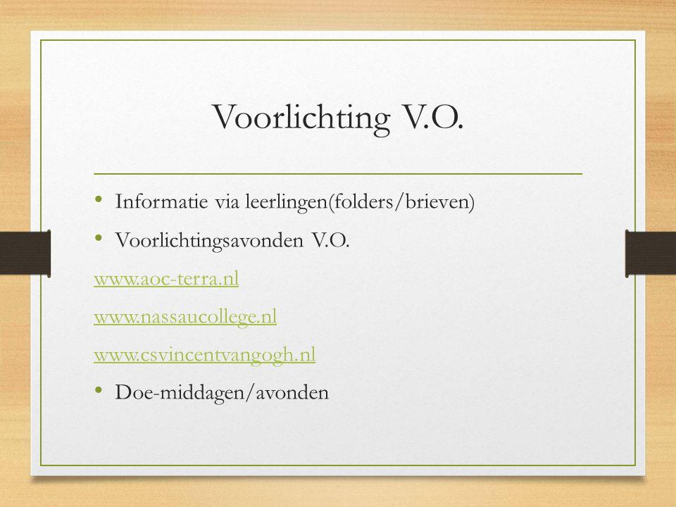 Voorlichting V.O. Informatie via leerlingen(folders/brieven) Voorlichtingsavonden V.O. www.aoc-terra.nl www.nassaucollege.nl www.csvincentvangogh.nl D