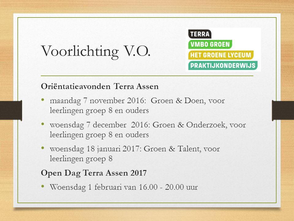 Voorlichting V.O. Oriëntatieavonden Terra Assen maandag 7 november 2016: Groen & Doen, voor leerlingen groep 8 en ouders woensdag 7 december 2016: Gro