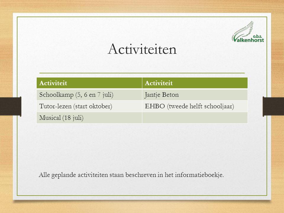 Activiteiten Activiteit Schoolkamp (5, 6 en 7 juli)Jantje Beton Tutor-lezen (start oktober)EHBO (tweede helft schooljaar) Musical (18 juli) Alle geplande activiteiten staan beschreven in het informatieboekje.