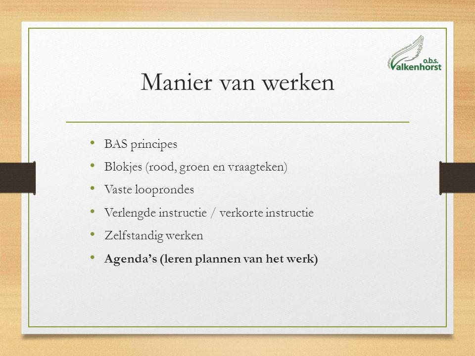 Manier van werken BAS principes Blokjes (rood, groen en vraagteken) Vaste looprondes Verlengde instructie / verkorte instructie Zelfstandig werken Age