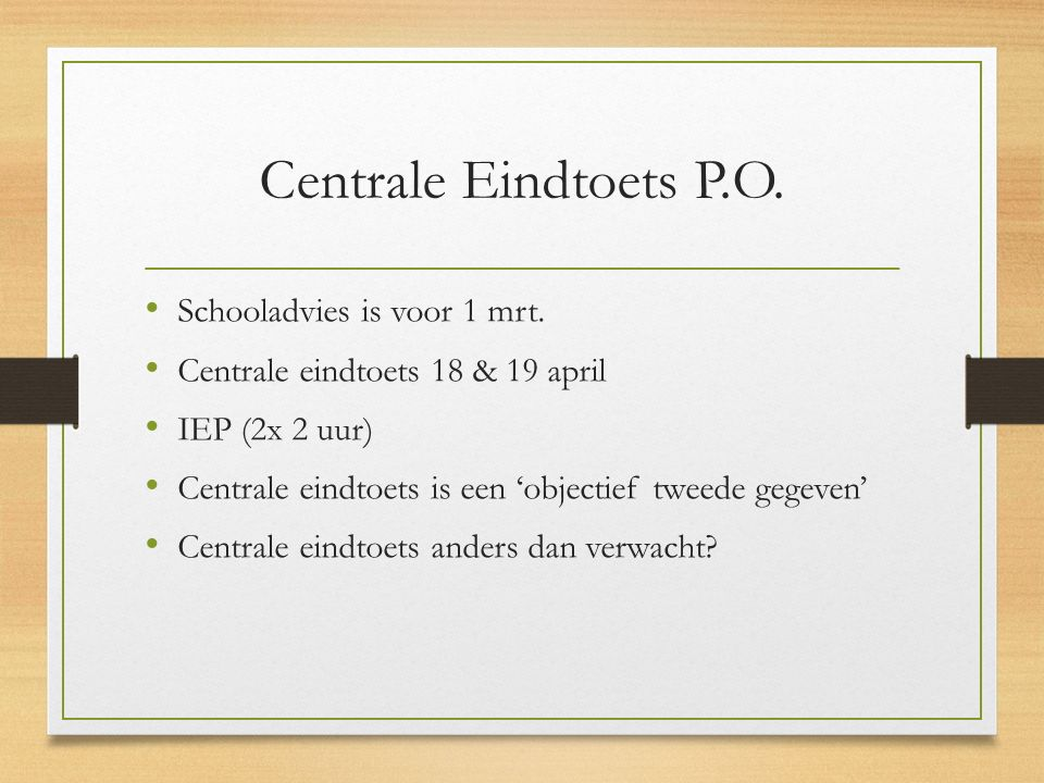 Centrale Eindtoets P.O.