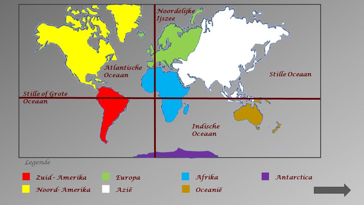 3. Gebruik je atlas. Schrijf de namen van de oceanen op de kaart.