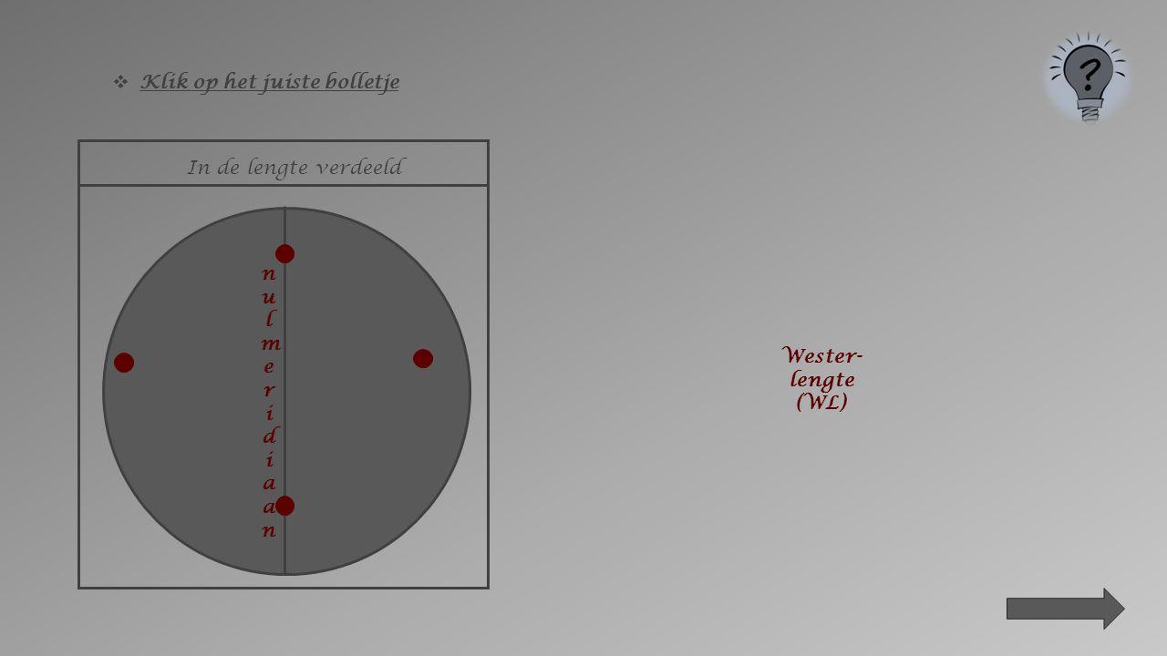 evenaar Zuiderbreedte (ZB) In de breedte verdeeld  Klik op het juiste bolletje Noorderbreedte (ZB)