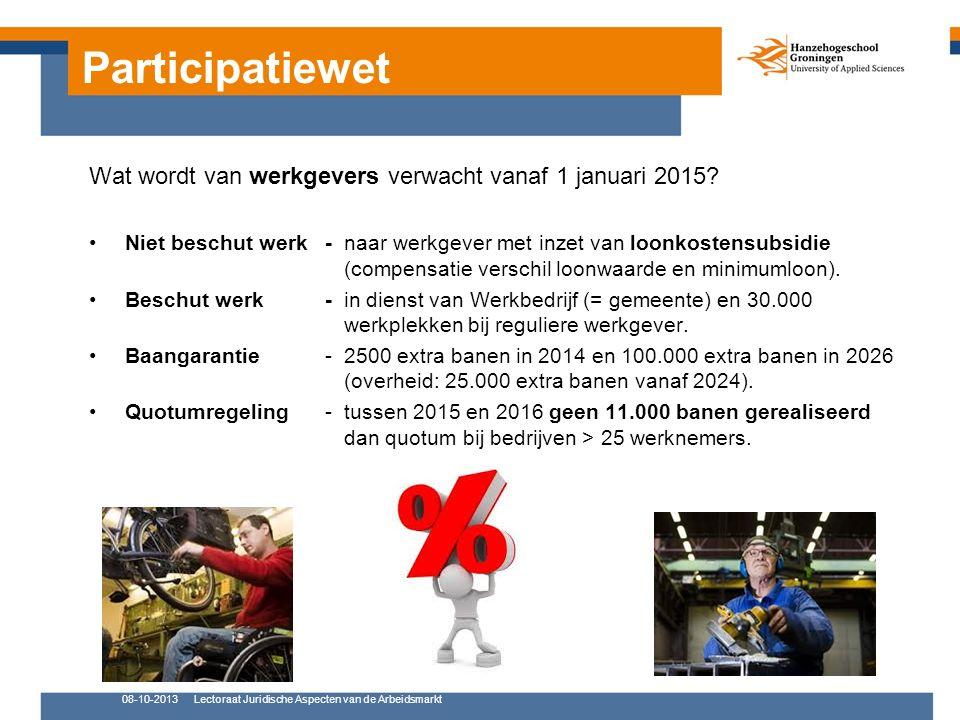 Participatiewet 08-10-2013Lectoraat Juridische Aspecten van de Arbeidsmarkt Wat wordt van werkgevers verwacht vanaf 1 januari 2015.