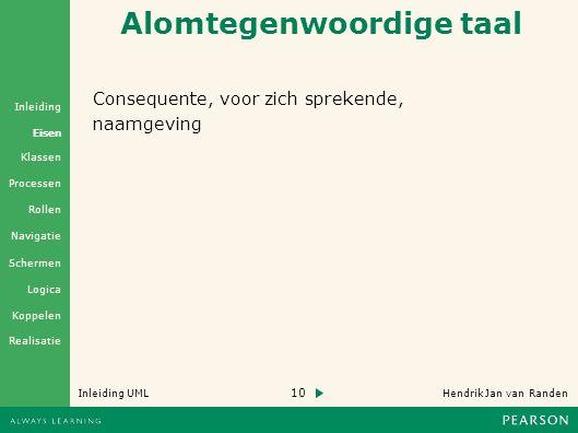 10 Hendrik Jan van Randen Inleiding UML Realisatie Klassen Processen Rollen Navigatie Schermen Logica Koppelen Eisen Inleiding Alomtegenwoordige taal Consequente, voor zich sprekende, naamgeving