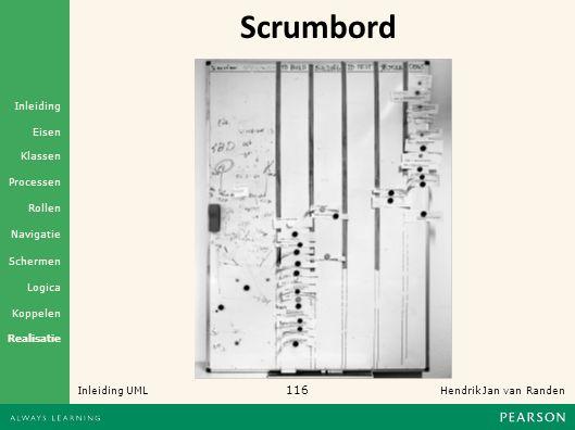 116 Hendrik Jan van Randen Inleiding UML Realisatie Klassen Processen Rollen Navigatie Schermen Logica Koppelen Eisen Inleiding Scrumbord
