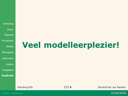 123 Hendrik Jan van Randen Inleiding UML Realisatie Klassen Processen Rollen Navigatie Schermen Logica Koppelen Eisen Inleiding Veel modelleerplezier!