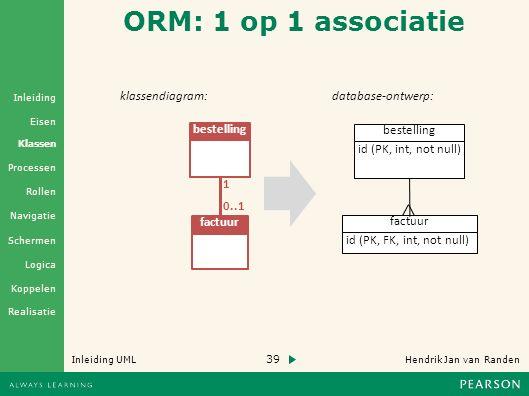 39 Hendrik Jan van Randen Inleiding UML Realisatie Klassen Processen Rollen Navigatie Schermen Logica Koppelen Eisen Inleiding ORM: 1 op 1 associatie klassendiagram: bestelling factuur 1 0..1 database-ontwerp: factuur id (PK, FK, int, not null) id (PK, int, not null) bestelling