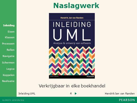 4 Hendrik Jan van Randen Inleiding UML Realisatie Klassen Processen Rollen Navigatie Schermen Logica Koppelen Eisen Inleiding Naslagwerk Verkrijgbaar in elke boekhandel