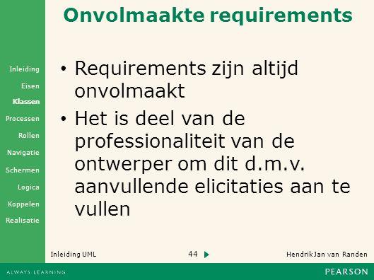 44 Hendrik Jan van Randen Inleiding UML Realisatie Klassen Processen Rollen Navigatie Schermen Logica Koppelen Eisen Inleiding Onvolmaakte requirements Requirements zijn altijd onvolmaakt Het is deel van de professionaliteit van de ontwerper om dit d.m.v.
