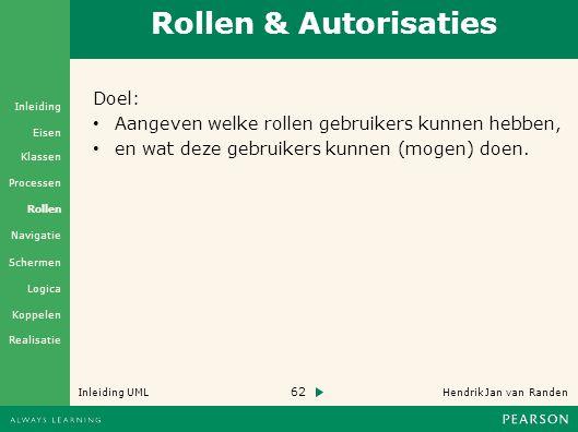 62 Hendrik Jan van Randen Inleiding UML Realisatie Klassen Processen Rollen Navigatie Schermen Logica Koppelen Eisen Inleiding Rollen & Autorisaties Doel: Aangeven welke rollen gebruikers kunnen hebben, en wat deze gebruikers kunnen (mogen) doen.