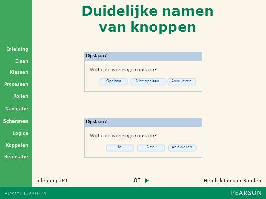 85 Hendrik Jan van Randen Inleiding UML Realisatie Klassen Processen Rollen Navigatie Schermen Logica Koppelen Eisen Inleiding Duidelijke namen van knoppen Opslaan.