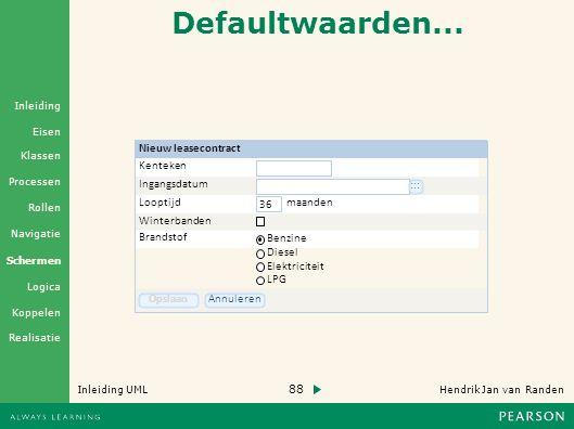 88 Hendrik Jan van Randen Inleiding UML Realisatie Klassen Processen Rollen Navigatie Schermen Logica Koppelen Eisen Inleiding Defaultwaarden...