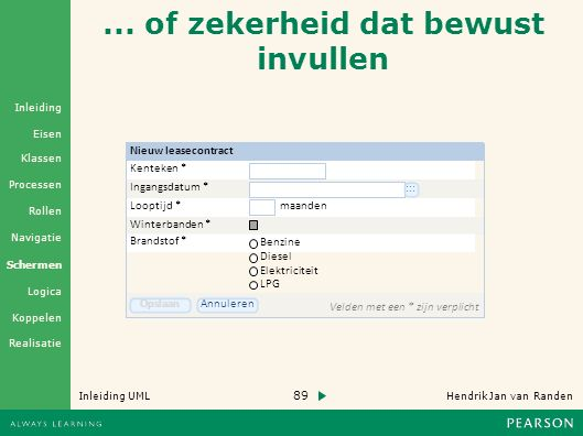 89 Hendrik Jan van Randen Inleiding UML Realisatie Klassen Processen Rollen Navigatie Schermen Logica Koppelen Eisen Inleiding...