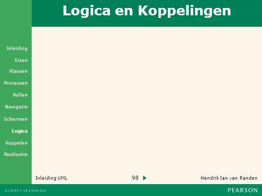 98 Hendrik Jan van Randen Inleiding UML Realisatie Klassen Processen Rollen Navigatie Schermen Logica Koppelen Eisen Inleiding Logica en Koppelingen