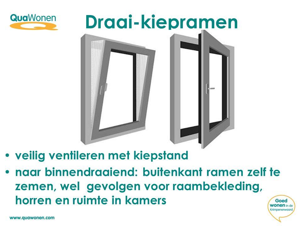 Draai-kiepramen veilig ventileren met kiepstand naar binnendraaiend: buitenkant ramen zelf te zemen, wel gevolgen voor raambekleding, horren en ruimte in kamers