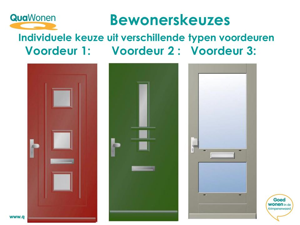 Individuele keuze uit verschillende typen voordeuren Voordeur 1: Voordeur 2 : Voordeur 3: Bewonerskeuzes