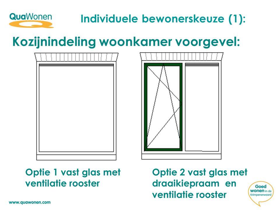 Individuele bewonerskeuze (1): Kozijnindeling woonkamer voorgevel: Optie 1 vast glas met Optie 2 vast glas met ventilatie roosterdraaikiepraam en ventilatie rooster
