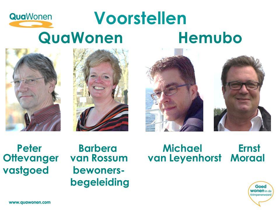 Voorstellen QuaWonen Hemubo Peter Barbera Michael Ernst Ottevanger van Rossum van Leyenhorst Moraal vastgoed bewoners- begeleiding