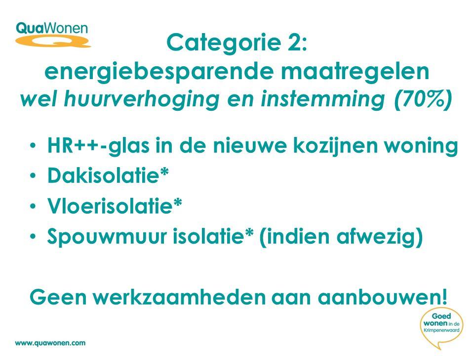 Categorie 2: energiebesparende maatregelen wel huurverhoging en instemming (70%) HR++-glas in de nieuwe kozijnen woning Dakisolatie* Vloerisolatie* Spouwmuur isolatie* (indien afwezig) Geen werkzaamheden aan aanbouwen!