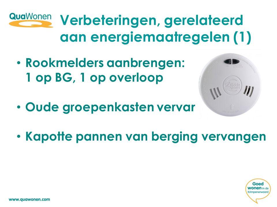 Verbeteringen, gerelateerd aan energiemaatregelen (1) Rookmelders aanbrengen: 1 op BG, 1 op overloop Oude groepenkasten vervangen Kapotte pannen van berging vervangen