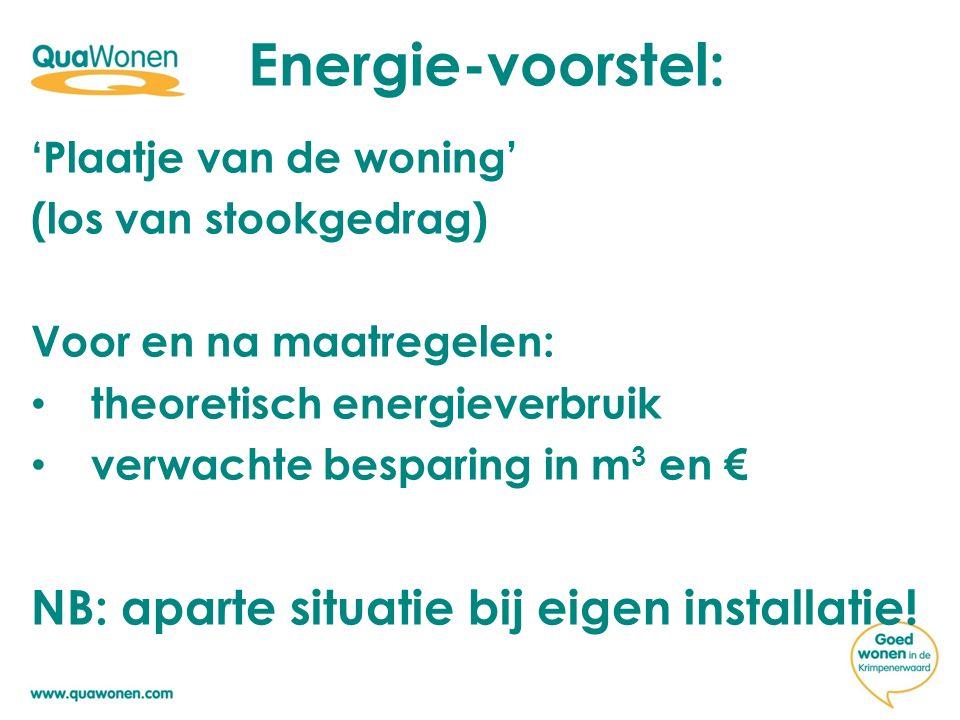 'Plaatje van de woning' (los van stookgedrag) Voor en na maatregelen: theoretisch energieverbruik verwachte besparing in m 3 en € NB: aparte situatie bij eigen installatie.