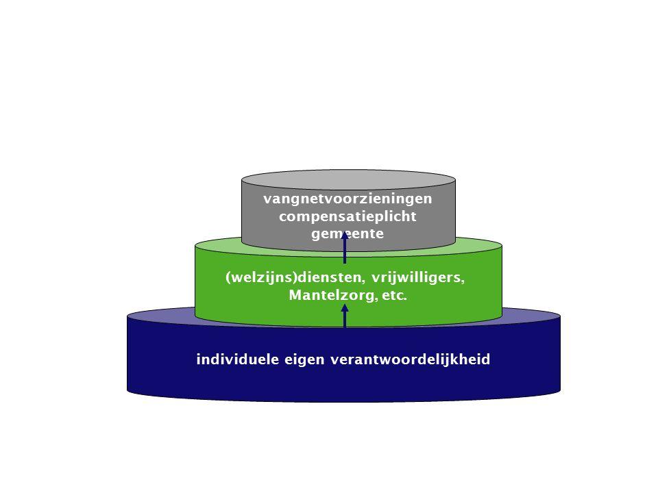 individuele eigen verantwoordelijkheid (welzijns)diensten, vrijwilligers, Mantelzorg, etc.
