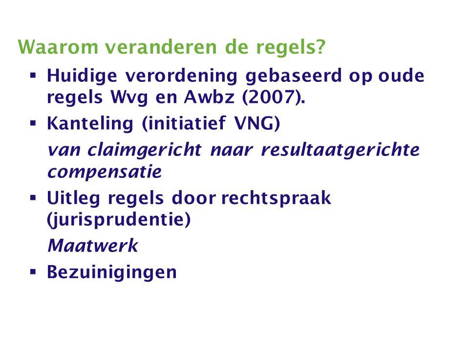 Waarom veranderen de regels.  Huidige verordening gebaseerd op oude regels Wvg en Awbz (2007).