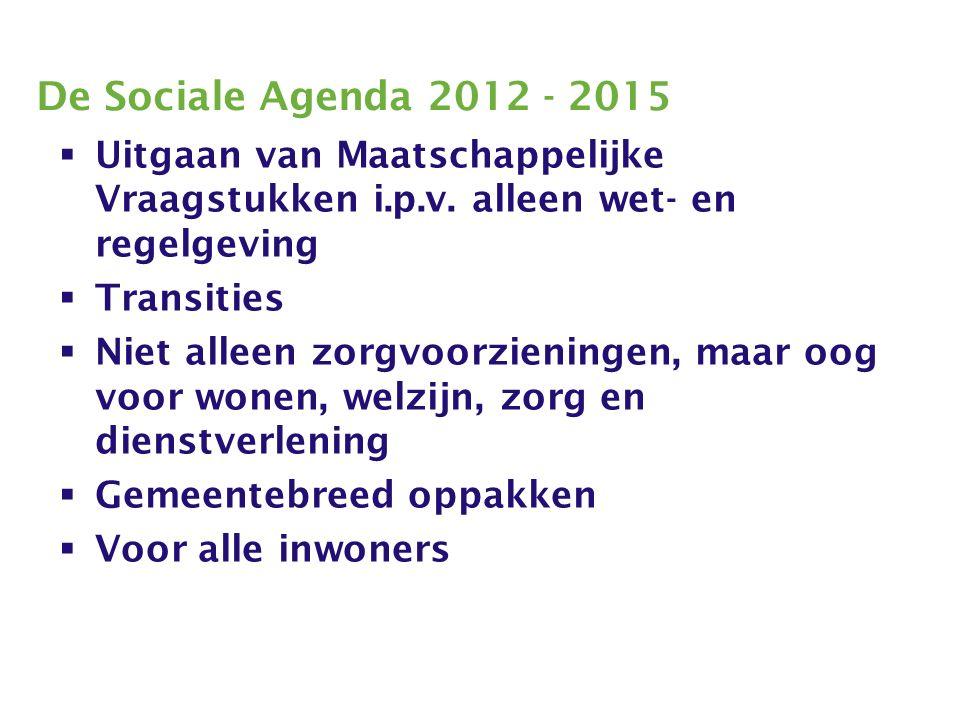 De Sociale Agenda 2012 - 2015  Uitgaan van Maatschappelijke Vraagstukken i.p.v.